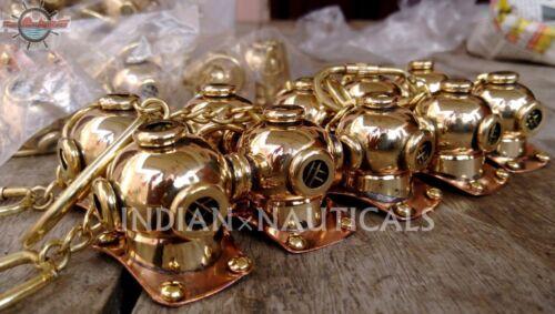Beautiful Brass Mini Divers Helmet Antique U.S Navy Mark V Helmet Keychain LOT