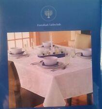 "HANUKKAH 60"" X 84"" Holiday Tablecloth Oblong White Star of DAVID Menorah NIP"