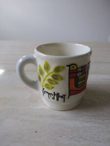 Vintage Folk Art El Salvador Cup Hand Painted And Signed Fevman Jollort Rare
