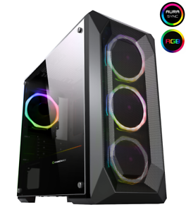 Game-Max-Kamikaze-PRO-RGB-MATX-Gaming-PC-Case-Tempered-Glass-4x-Ring-Fans
