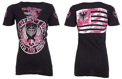 Archaic AFFLICTION Womens T-Shirt REBEL Tattoo Biker USA FLAG Sinful S-XL $40 a