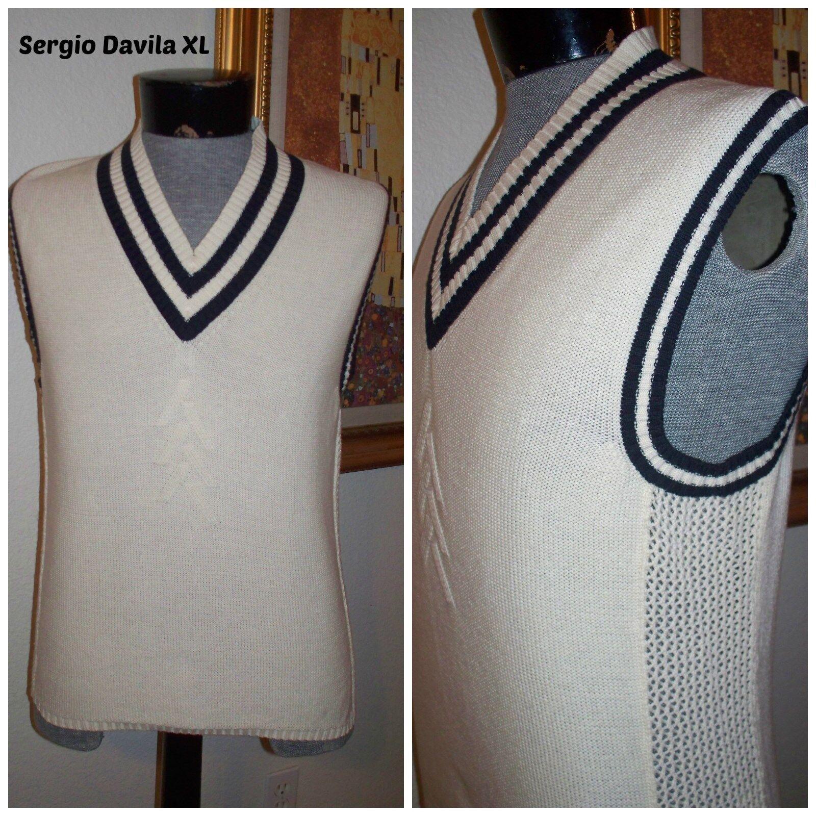 Mens   Sergio Davila   2 Tone Farbeblock Designer Intricate Knit Sweater Vest XL