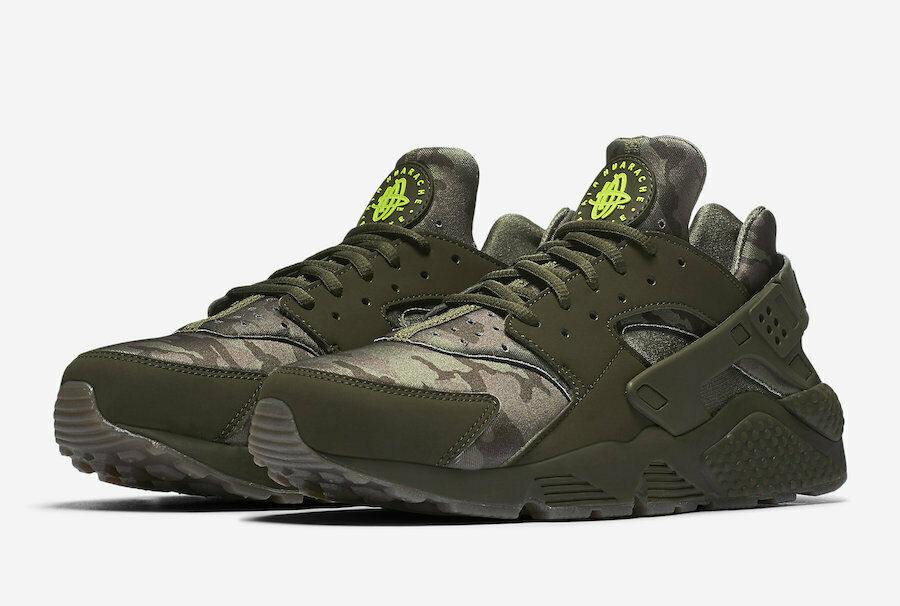 NIKE AIR HUARACHE RUN  SZ 11 Cargo Khaki Volt Sequoia AT6156-300