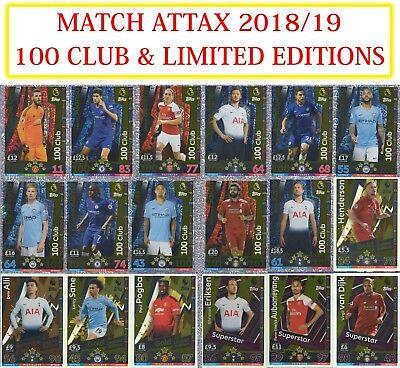 Match Attax 2018//19 18//19 Edición Limitada//100 Tarjetas Club incl extra 2019