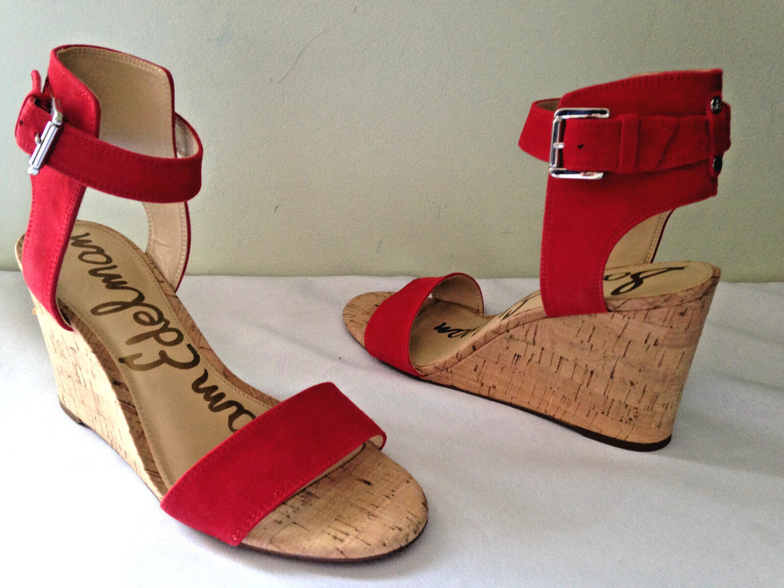 NEW Sam Edelman Red Suede Leather WILLOW Wedge Wedge Wedge Open Toe Sandals 8.5 M  140 de8f03