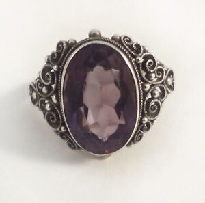 Vintage-Amethyst-Silver-Ring-Faceted-Deep-Purple-Gem-Stone-Cabochon-Size-6