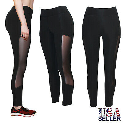 Gym Durable In Use Women's High Waist Black Yoga Pants Leggings W/mesh Cutout Workout Sport