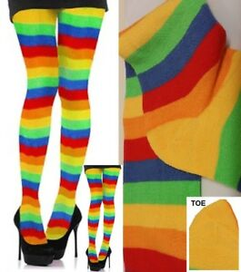 44dc6ce1d59 Womens RAINBOW STRIPE Over Knee SOCKS Thigh High STOCKING Carnival ...