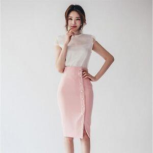 separation shoes 70485 91b36 Dettagli su Elegante raffinato completo donna gonna tubino camicia bianco  rosa slim 3581