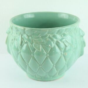 Vintage-McCoy-Pottery-Quilted-Jardiniere-Blue-Planter-Early-50s-9-034-Diameter-USA