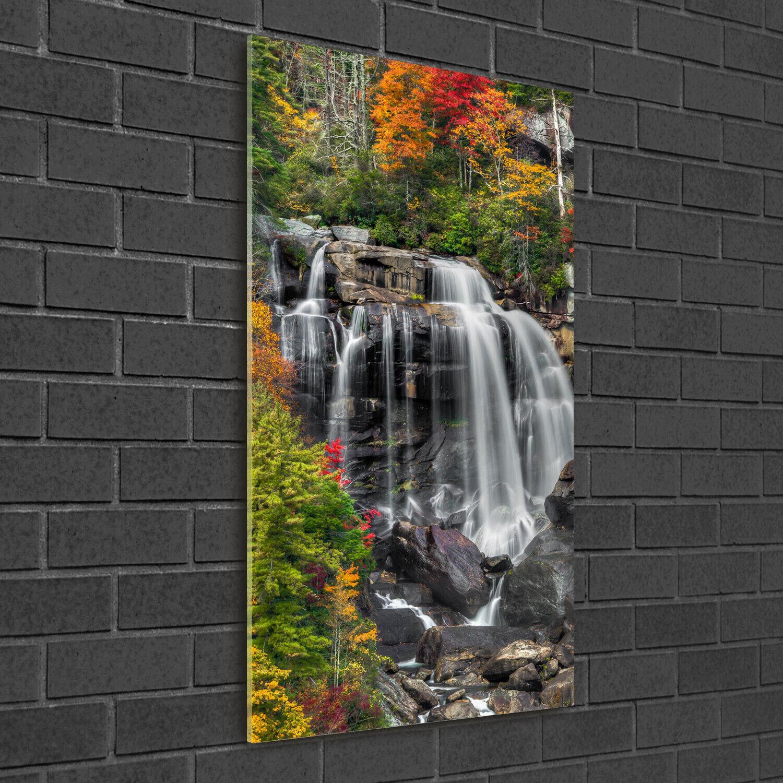Wand-Bild Kunstdruck aus Hart-Glas Hochformat 50x100 Wasserfall im Herbst