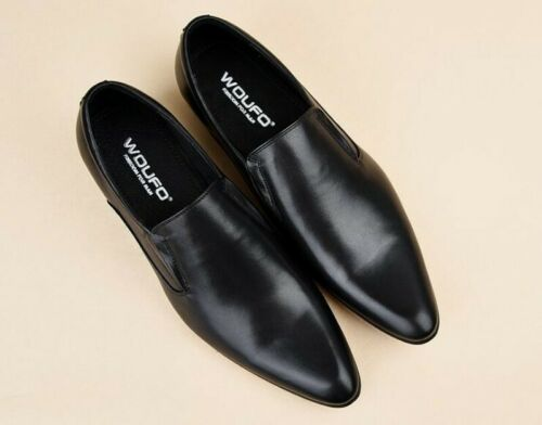 Details about  /Vogue Mens Block Pointed Toe Slip On Business Leather Dress Formal Oxfords Shoes