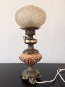 Wunderschöne alte Keramiklampe Messinglampe Petroleumlampe elektr. - Deutschland - Wunderschöne alte Keramiklampe Messinglampe Petroleumlampe elektr. - Deutschland