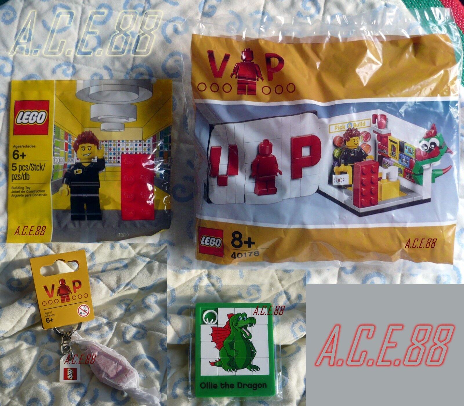 Lego 40178 5001622 Exclusive VIP Set Mini Lego Store Employee + Keychain + Ollie