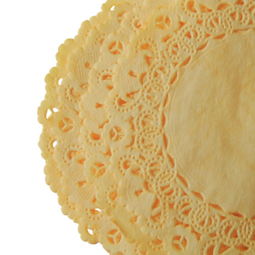"""DAFFODIL YELLOW Colored PAPER Lace DOILIES4/"""" 6/"""" 8/"""" 10/"""" 12/"""" 14/""""Dyed Doilies"""