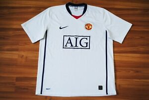 manchester united away football shirt 2008 2009 jersey nike aig white large mens ebay details about manchester united away football shirt 2008 2009 jersey nike aig white large mens