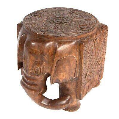 Nouveau Sculpté à la main en bois d/'acacia éléphant tabouret table de côté en bois Lampe Plant stand
