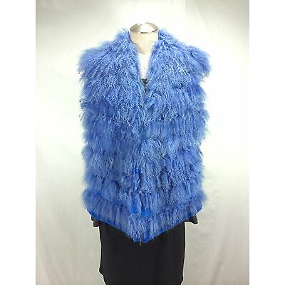 FREE SHIPPING CORNFLOWER BLUE COLOR LONG CASHMERE FUR LADY VEST WITH MINK INSERT