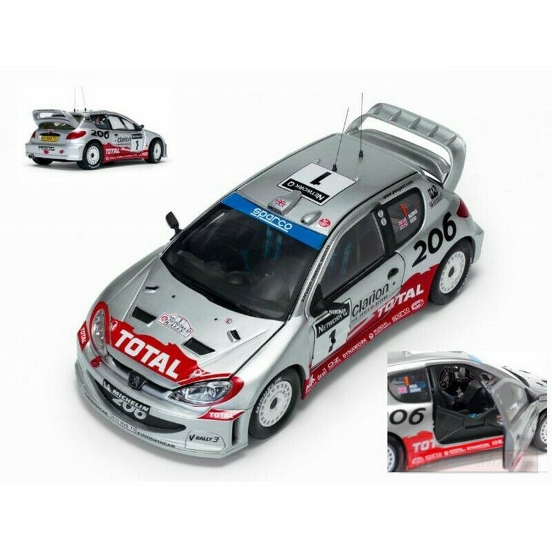SUNSTAR SS3854 PEUGEOT 206 N.1 GREAT BRITAIN RALLY 2002 R.BURNS-R.REID 1:18 comp
