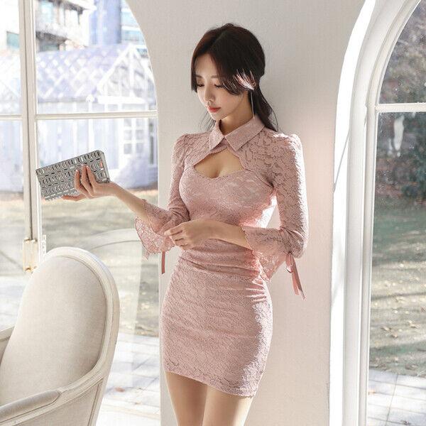 Elegante vestito abito donna slim corto tubino tubino tubino bianco rossa pizzo morbido 5040 643f56
