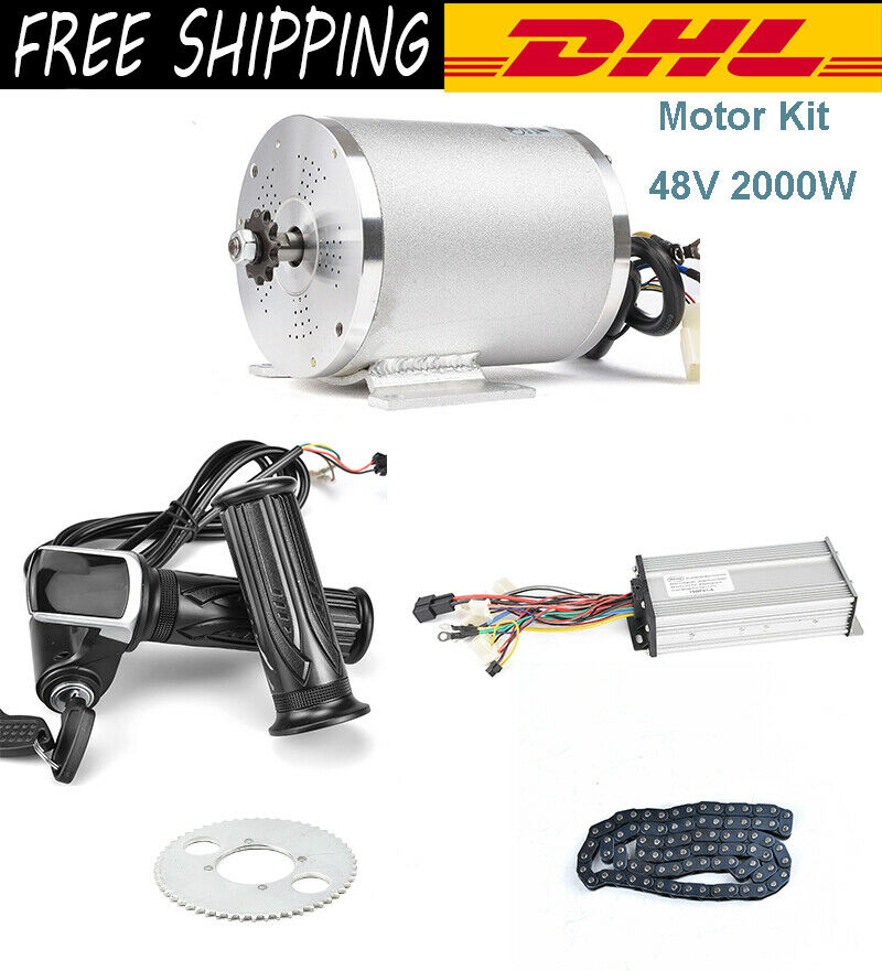 48V 2000W DC Electric Motor For Electric Vehicle With Brushless Controller, LCD
