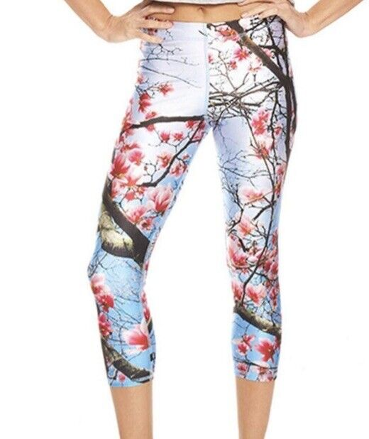 Terez Womens Leggings Blue Cherry Blossom Floral Print Cropped Capris Sz Med