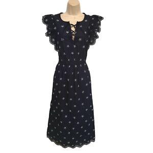 gap navy blue embroidered eyelet maxi dress m nwt corset