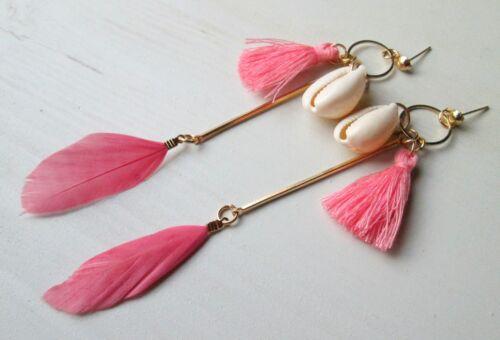 Aretes ohrhänger chandeliers moluscos bivalvos borlas plumas joyas hippie Boho nuevo