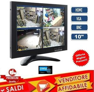 MONITOR-10-1-POLLICI-1080P-COLORI-LCD-VGA-HDMI-BNC-VIDEOSORVEGLIANZA-LED-VIDEO