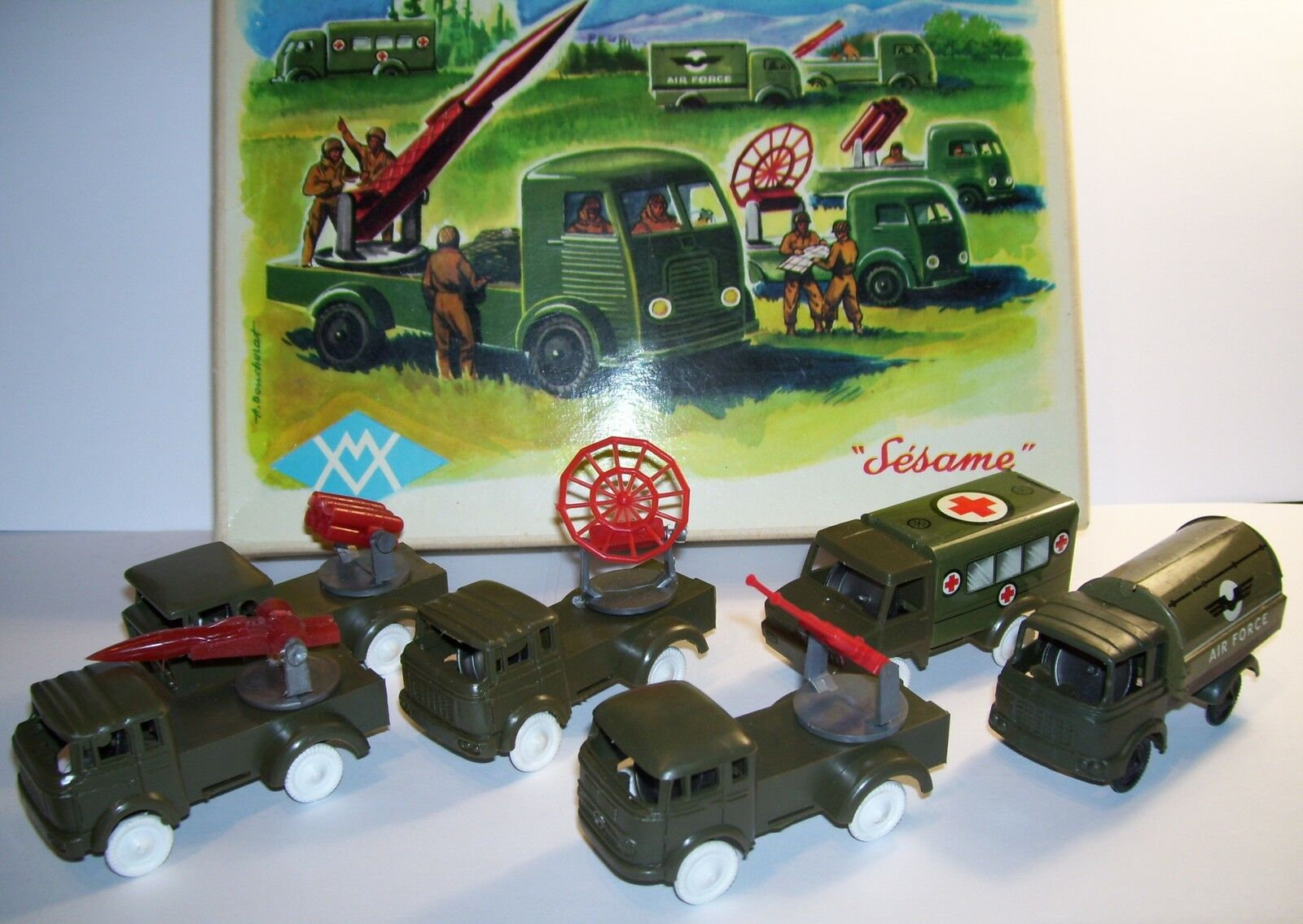 Old boxed sesame military army anti aerial 6 miniatures friction 1964 1 70