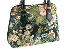 Signare Ladies Tapestry Fashion Handbag / Shoulder Bag In Peony Black Design