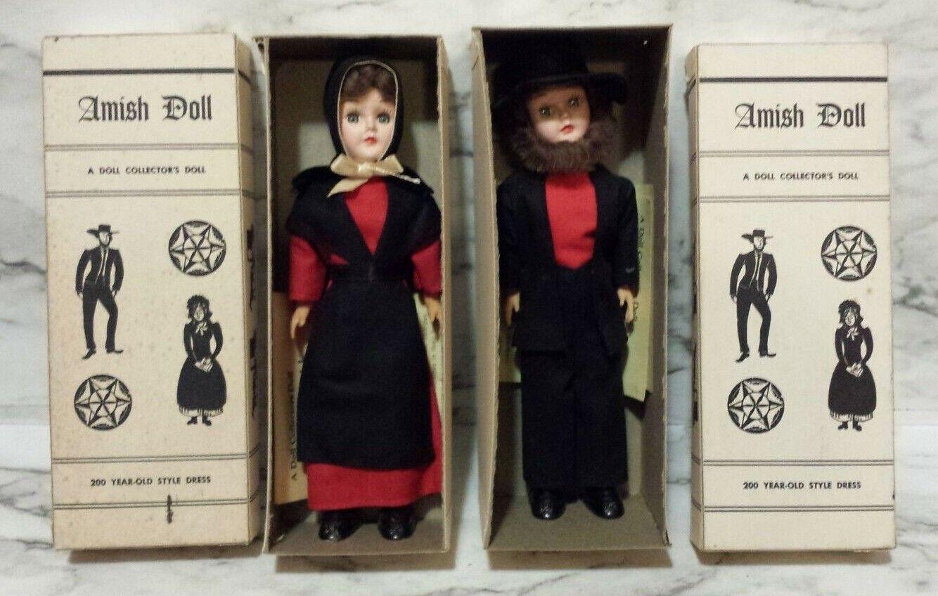 2 Vintage Amish Dolls w  Sleepy Eyed Man & Frau In Original Boxes