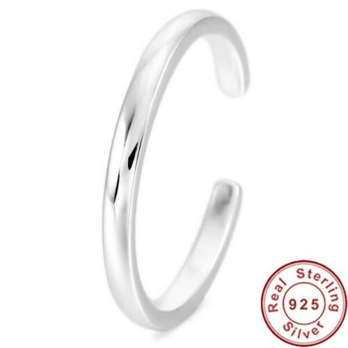 100/% 925 Sterling Silver Toe Ring 4mm Band Knuckle Fully Adjustable Open Jewelry