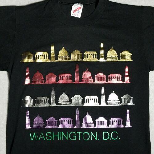 Vintage 80s WASHINGTON DC TOURIST Metallic Printed