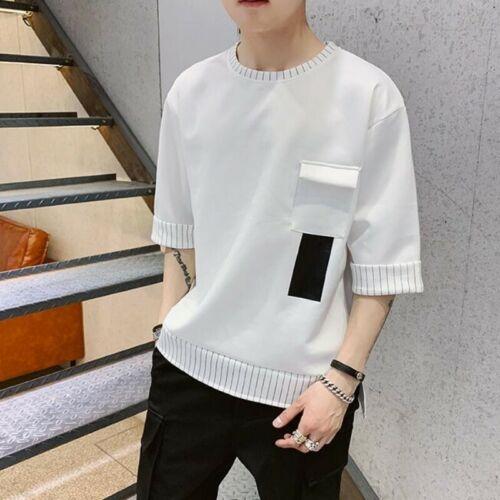 Men Half Sleeve Casual T-shirts Summer Korean Loose Fit Print Soild Fashion Chic