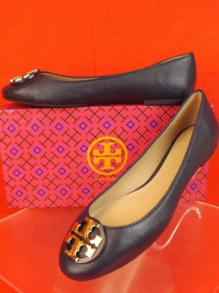 NIB NIB NIB TORY BURCH CLAIRE BRIGHT NAVY TUMBLED LEATHER gold TONE REVA FLATS 7.5 e267a2