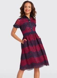 Draper-James-Collection-Stripe-Lace-Shirtdress-Navy-Blue-Polo-Dress-Bows-Size-10