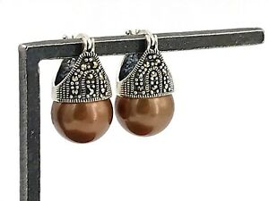 Estate-925-Sterling-Silver-Marcasite-amp-Brown-Faux-Pearl-Huggie-Lever-Earrings