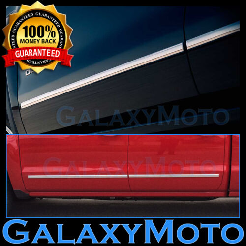 07-13 GMC Sierra 1500 Crew Cab 4 Door Chrome Body Side Molding Front+Rear 4pcs