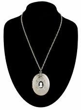 "Vintage Cameo Locket Necklace Large Big Black White  Antiqued Silver Tone 24"""