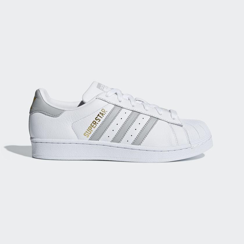 New Adidas Original Femme SUPERSTAR Blanc / Gris B42018 US W 5 - 10 TAKSE AU