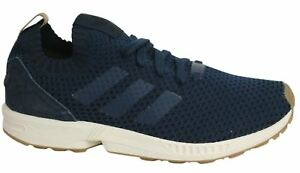 100% authentic c38d5 4b63c Details about Adidas ZX Flux PK Lace Up Navy Blue Knitted Textile Mens  Trainers BA7372 B3B