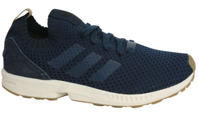 best service a2129 3c62a Adidas ZX Flux PK Lace Up Navy Blue Knitted Textile Mens Trainers BA7372 U14