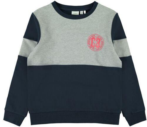 NAME IT Jungen Pullover Sweatshirt NKMKimber grau blau Größe 122//128 bis 158//164