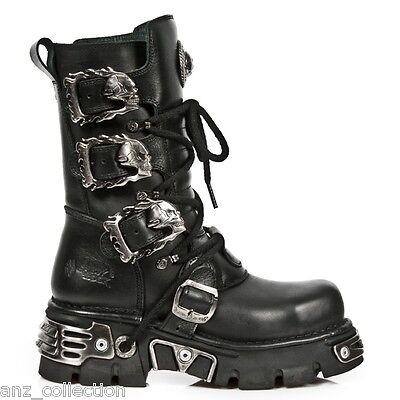 Newrock New Rock 391 Metallic Reactor Black Goth Biker Unisex Negro Goth Boots