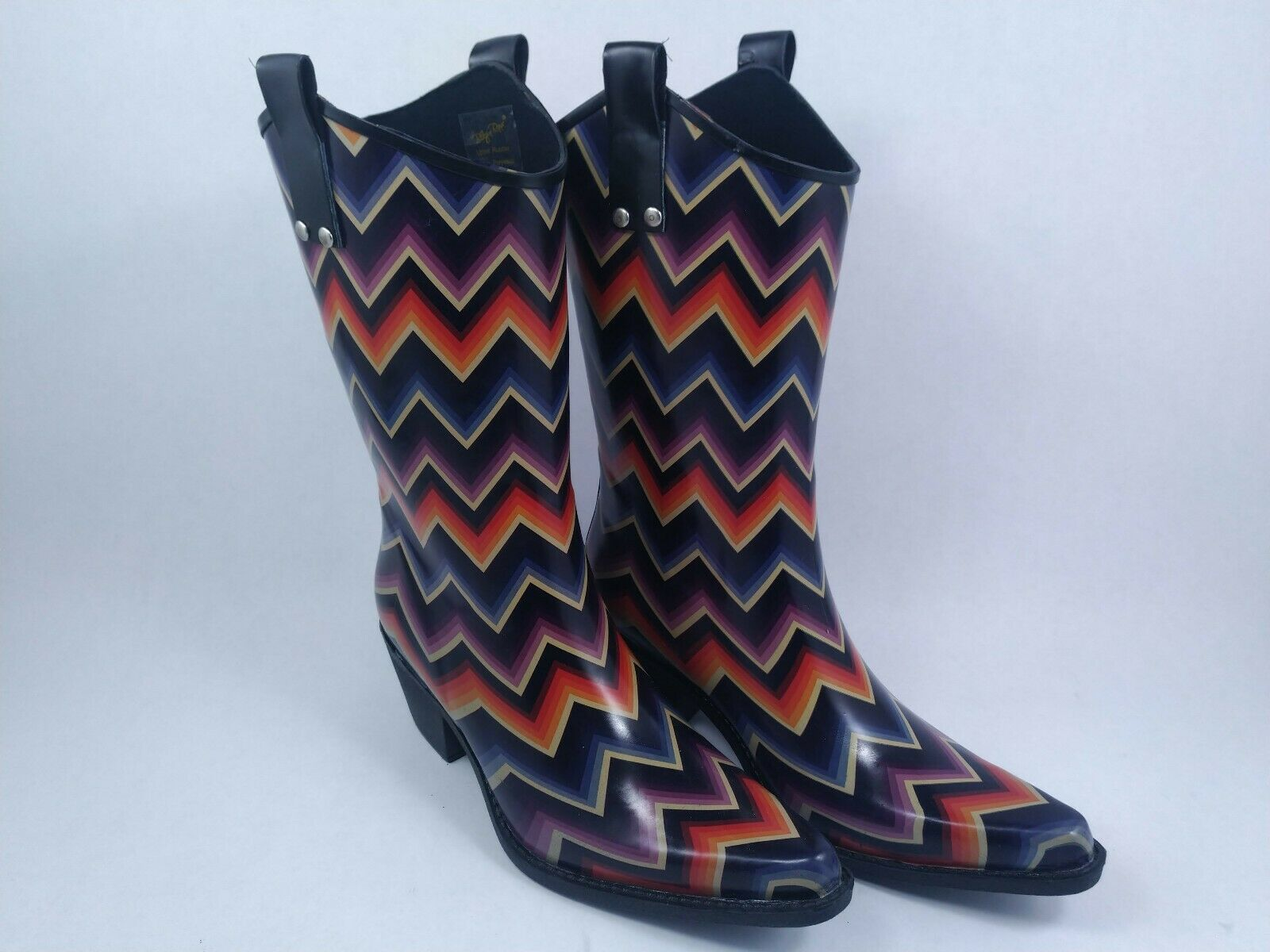 BLAZIN ROXX Womens Cowboy Rain Boots - Chevron Kale Multicolor Size 8m shoes
