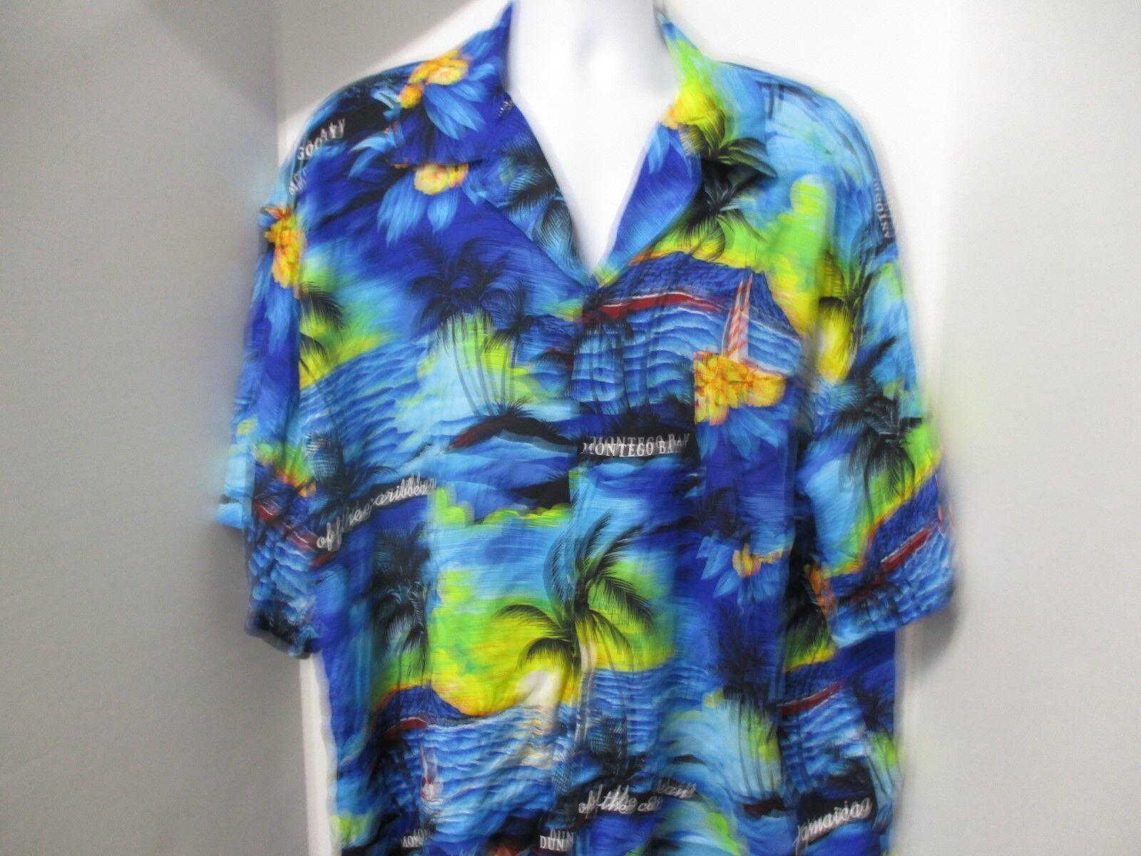 Vibrant colord Hawaiian Shirt, Unknown Manufacturer, Ocho Rios, Jamaica, XL