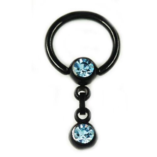 Intim piercing oreja negro pecho kritoris ring 5mm Aqua bala cadena colgante