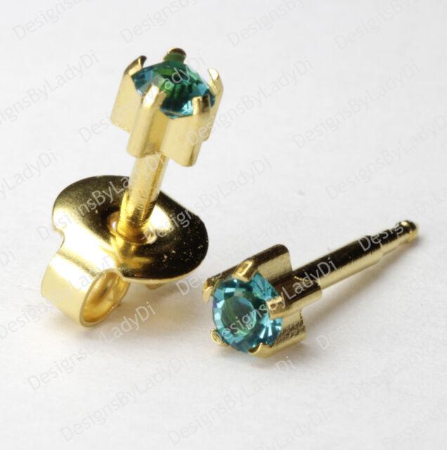 4mm Gold With December Pronged Gem Ear Piercing Earrings Studs Hypoallergenic
