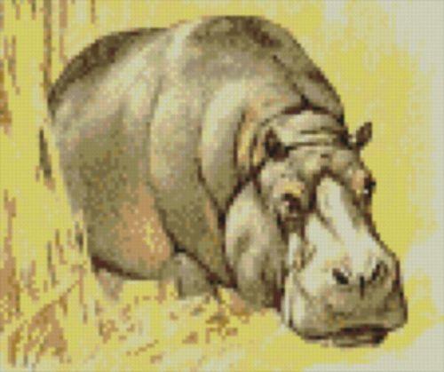 "Hippo 2 Completa puntada cruzada contada Kit de 8 /""x 7/"""